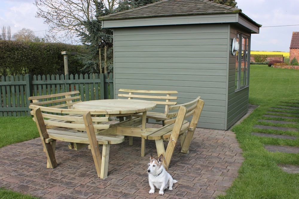Garden Furniture Round 8 Seat Picnic Table Bench With