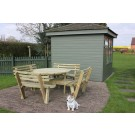 Garden Furniture - Round 8 Seat Picnic Table / Bench with Seat Backs